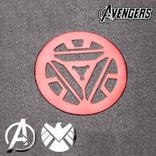 2 Pcs The avengers alliance iron man SHIELD reactor metal stickers 3D Metal Sticker phone Computer Car Mobile Cell Phone sticker