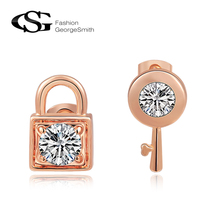 GS 2017 Spring Collection Lock and KEY earrings for women Crystal Earrings Accessories Rose Gold Color Fashion Jewelry Earring(China)