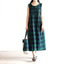 Johnature Women Plaid Tank Dress 2017 Sutton New Casual Cotton Vintage O-Neck Sleeveless A-Line Cute Dresses(China)