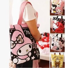 Kawaii Hello Kitty Melody Reusable Canvas Shopping Bag Shoulder Bags Foldable Folding Grocery Bags Large Eco Cartoon Tote Bags(China)