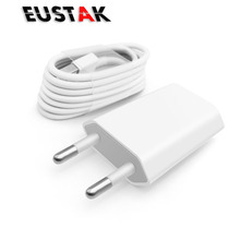 Eustak EU Plug USB Wall Power Charger Adapter + USB Charging Cable For Iphone 5 5s 5c 6 6s 6s Plus 6 7 plus IOS 8 9 10 White