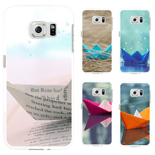 Fashion Paper Boat Design Protective Phone Case for Samsung Galaxy S4 S5 S6(China)