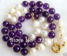 free shopping 2014 diy 7-8MM White Akoya Pearl & purple chalcedony chain round beads strand Necklace 18'' MY1366