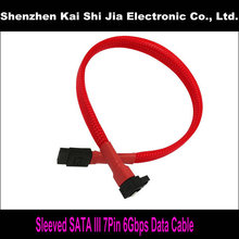 "18"" New Red Sleeved SATA III 6Gbps SATA3.0 7Pin Right Angle to Straight cable for Hard Drive Disk"