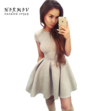 Buy NORMOV Sexy Women O-Neck Backless Straps Slim Polyester Dress Mini Office Lady Large Size Robe Dresses Vestidos De Festa Women for $8.70 in AliExpress store
