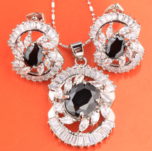 Fascinating Oval Black Onyx White Fashion 925 Sterling Silver Overlay Earrings Pendant Necklace Jewelry Sets S8309