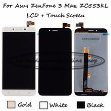 Black/White/Gold 5.5 inch For Asus ZenFone 3 Max ZC553KL LCD Display + Touch Screen Digitizer Assembly Replacement Free shipping(China)
