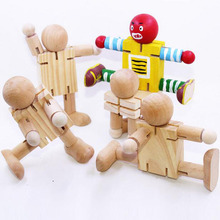 Children DIY Wooden Assembling Transformation Robot Blocks Kids Handmade Painting Draw Tools Educational Toys Christmas Gifts(China)