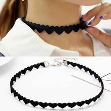 2017 New fashion jewelry heart design leather choker necklace gift for women girl Gothic necklace