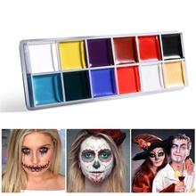 RUIMIO 12 Flash Tattoo Colors Halloween Make Up Paint Tools Face Body Oil Painting Art Party Fancy Dress Artist Palette