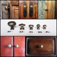 6pcs Antique Brass Jewelry Box Drawer Cabinet Cupboard Door Window Handle Pull Knob(China)
