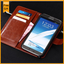 Luxury PU Leather Wallet Stand Flip Style Case for Samsung Galaxy Note 2 II N7100 Phone Cover Housing with Card Holder Drop SHIp