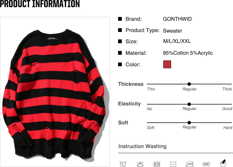 Ripped Stripe Knit Sweaters