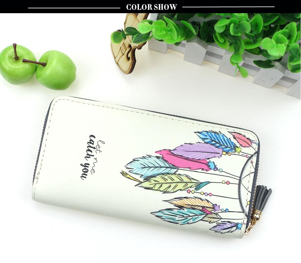 HTB1A6KPRFXXXXXFXXXXq6xXFXXXw - TZECHO Women Wallets PU Print Dream Catcher Carton Long Ladies Purses Coin Pocket Card Holder Clutch Zipper Wallets for Women