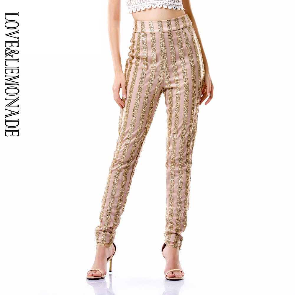 Love&Lemonade Gold Beads Stripe Slim Pants  TB 9832