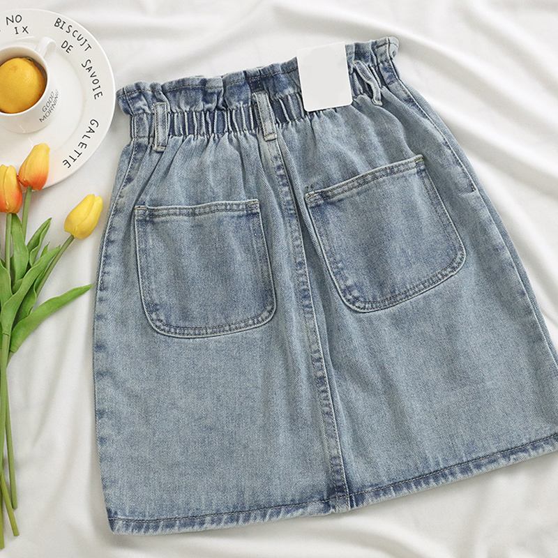 Elastic Waist Summer Women Denim Skirt Pockets Sexy White High waist jeans Skirts A-line Casual Ruffles Female mini saia mujer 12