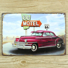 """ motel route 66 road and car "" metal tin wall Crafts painting Retro Signs for Home Bar Pub Decoration 20x30 cm wall pictures"