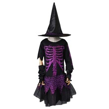 Witch Cosplay Costume Girl Halloween Costumes Skeleton Children Fairytale Skele Fancy Dress Skirt with Hat for Carnival Party(China)
