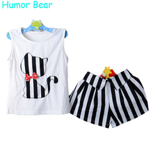 Humor Bear Girls Clothes Cartoon Cat T-Shirt + Short Children'S Suits Clothing Set Girls Set Girls Suit Children'S Clothing