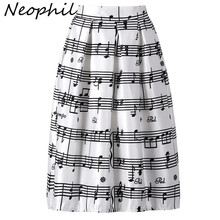 Neophil 2019 Winter Piano Music Note Melody Print High Waist Pleated Ball  Gown Satin Flared Midi Women Skirts Tutu Saia S08024 c98723c03e21