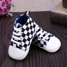 Baby Shoes boys Girls Toddler Shoes Canvas Soft Prewalkers Casual Grid First Walkers White with Black