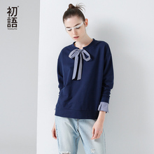 Toyouth T-Shirts 2017 Spring Women Stripe Patchwork Bowknot Vintage Casual Long Sleeve Fake Two Pieces Tees Tops(China)