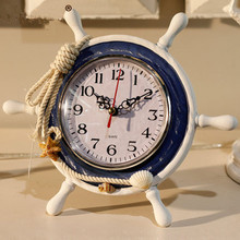 Mediterranean style table clock helm design wooden desk clock creative vintage rudder watch home decoration