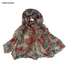 YWHUANSEN Sale Items Small Rose Voile Womens Scarves Beautiful Flower Lady Sjaals Pashmina Girls Accessories Fashion Wrap Shawls(China)