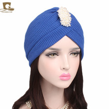 New Fashionable beaded diamante cotton Turban  ruflle headwrap Hats women hair Cap Hijab
