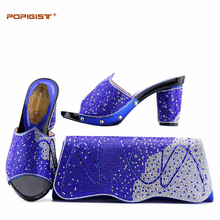 Manufacturer Cheap Price Good Quality Italian Shoes With Matching Bag Rhinestone African Women Shoes and Bag Set Royal Blue(China)