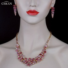 CHRAN Brand Statement Jewelry Lovely Gold Color Women Bridal Accessories Fashion Pink Crystal Costume Wedding Jewelry Sets