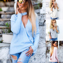 autumn winter women sweater tunic plain jumpers both sides wear knitted deep V neck open back sexy pullover DCD-17423