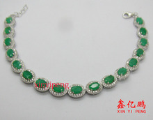 925 sterling silver with natural  emerald  bracelet