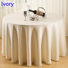 Ivory colour wedding table cover table cloth polyester table linen hotel banquet party round tables decoration wholesale