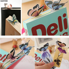 10PCS Bookmark Butterfly Style Teacher's Gift Book Marker Stationery Gift Realistic Cute Kawaii Cartoon 3d Bookmark(China)