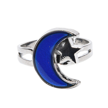 Vintage Chic Alloy Ring Changing Color Turtle Moon Ring Adjustable Emotion Feeling Changeable Temperature Ring(China)