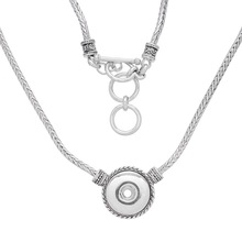 1PC Round Snap Necklace Fit 18mm Snap Buttons Silver Color Snake Chain Statement Necklace Jewelry For Women Toggle Clasp(China)