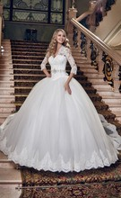 Beautiful Wedding Dress Ball Gown With Sleeves vestido de noiva Lace Appliques Belt Custom Made High Quality Bridal Gowns