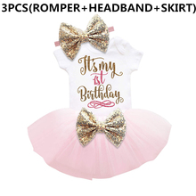 New Baby Girl Clothing Summer Sequin Bow Tutu Newborn Dress (Tops+Headband+Dress) 3pcs Clothes Bebe First Birthday Elsa Costumes(China)