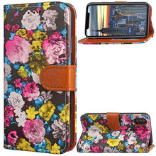 Flower ink Painting Wallet for iPhone X 10 Case Covers Flip TPU Leather Cases Black Stand Cover for iPhone-X iPhone10 iPhoneX(China)