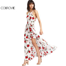 Buy COLROVIE White Floral Maxi Dress 2017 Women Hollow Sexy Cross Back Boho Cami Summer Dresses Layered Line Beach Long Dress for $16.99 in AliExpress store