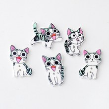 Free shipping -100Pcs Random Mixed Cat Wood Sewing Buttons 2 Holes Pattern Scrapbooking 24x15mm-24x22mm J2942(China)