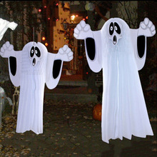 2 Sizes White Horrible Paper Hanging Ghost Foldable Fun Shroud Door Hallway Hanger Halloween Party Props Decorations Supplies(China)