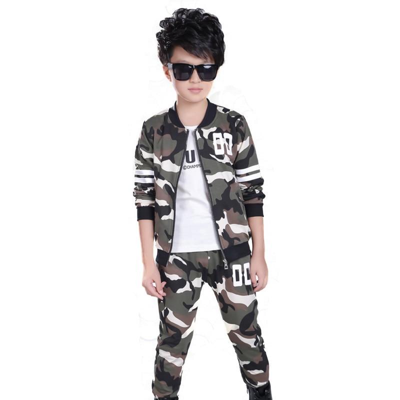 5-12T Children boy Clothes Sets Suits Designer Kids for Teenagers Cotton Camouflage Boys Sport Suit Mandarin Collar Coat+Pants<br>