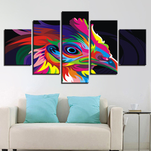 Wall Art Canvas HD Prints Poster Living Room Home Decor 5 Pieces Rainbow Color Bird Paintings Animal Chicken Pictures Framework(China)