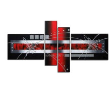 Modern Hand Painted Artwork 4 Panels Abstract silver red black Oil Paintings on Canvas Wall Art for Hot Sale Home Decorations(China)