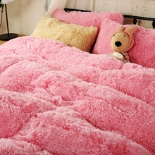 Warm Pink Fleece Girls Duvet Cover Set Queen King Size Flannel Winter Bedding Sets Solid Color Bed Sheet Soft Pillow Case