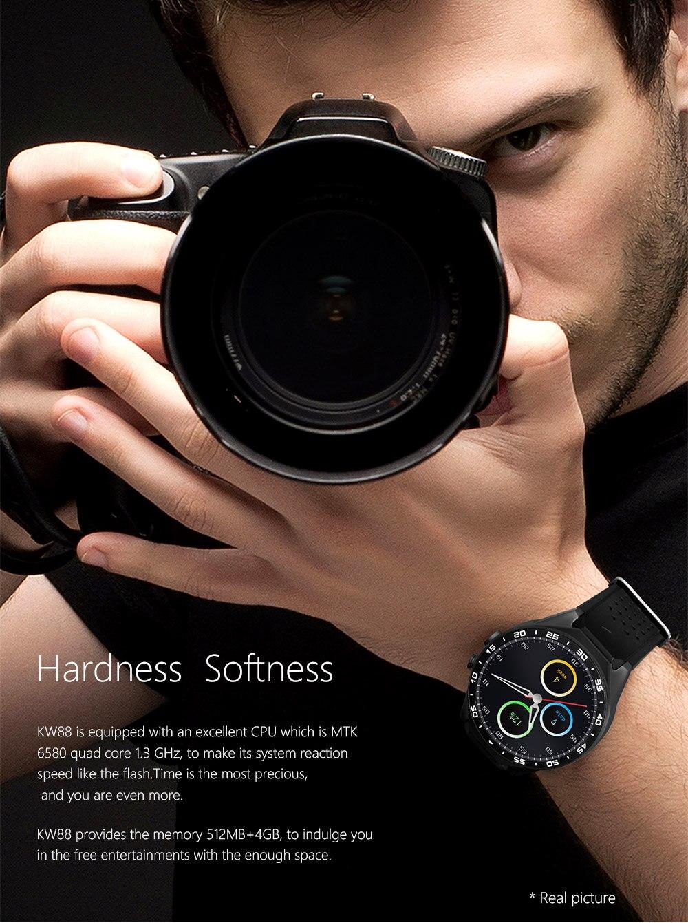 Kaimorui KW88 Bluetooth Smart Watch Android 5.1 OS 1.39′ Amoled Screen 3G wifi Wireless Smartwatch Phone+Bluetooth earphone