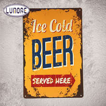 Metal Poster ICE COLD BEER served Here Tin Sign Metal Wall Decor Bar Pub Beer Sign Tavern D82(China)