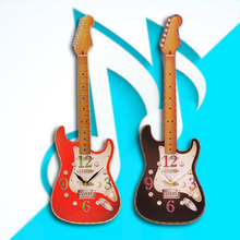 1Piece Novelty Guitar Shaped Wall Clock Electric Guitar Music Wall Clock Room Decor Hanging Art Gift For Guitarist(China)